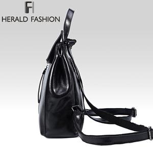 Image 3 - HERALD FASHION Genuine Leather Backpack Vintage Cow Split Leather Women Backpack Ladies Shoulder Bag School Bag for Teenage Girl