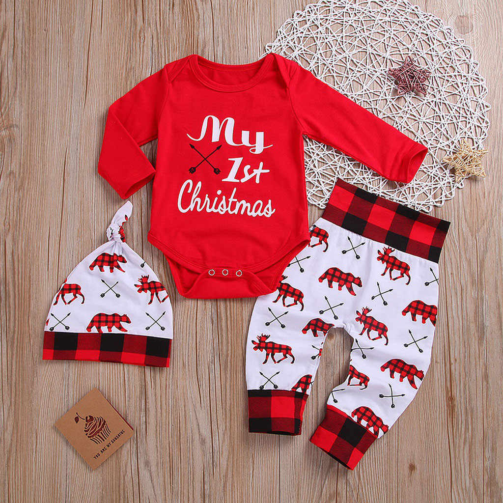 WARMWORD Baby Christmas Outfit Newborn Boys Girls My First Christmas Deer Romper Jumpsuit Top Cartoon Printed Pants 3Pcs Xmas Clothes Sets