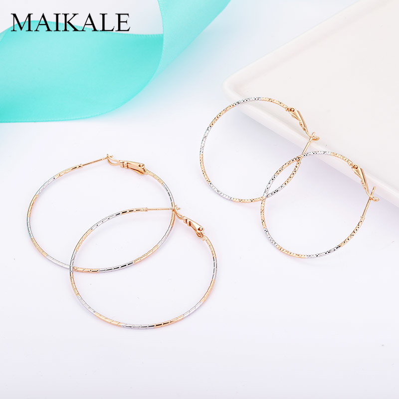 MAIKALE Simple Big Hoop Earrings Gold/silver Color Plated Metal Large Round Circle Earrings for Women Accessories Jewelry Gifts