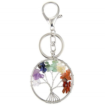 FYJS Unique Healing Chakra Jewelry Silver Plated Circle Lobster Clasp Tree of Life Colorful Rainbow Stones Key Chain