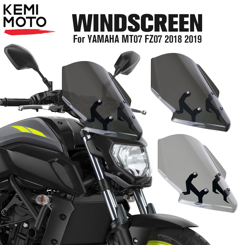 For YAMAHA MT07 FZ07 <font><b>2018</b></font> 2019 Motorcycle Windscreen Windshield MT-07 FZ-07 MT 07 Parabris Motorcycle Accessories Wind Deflector image