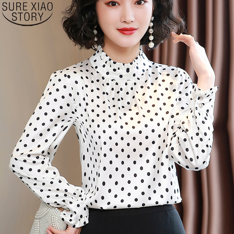 Women Blouses Casual Stand Collar Autumn Fashion Women Shirts Blouses Long Sleeve Polka Dot Women Tops 2021 Fashion Blusas 10589 2