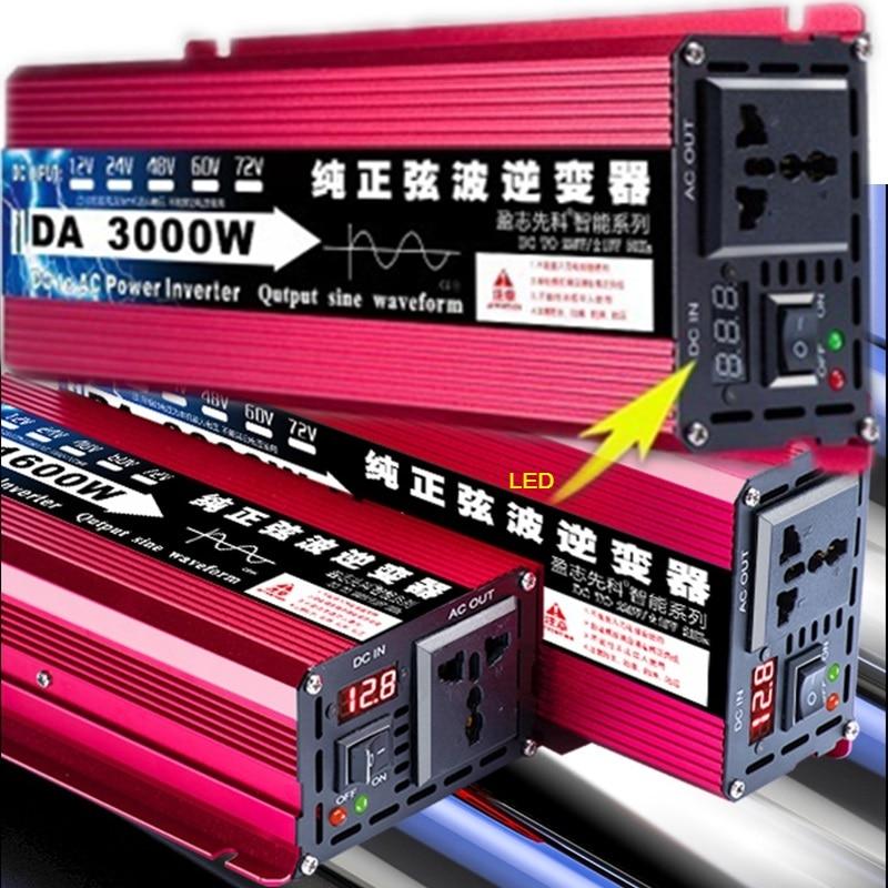 Czysta fala sinusoidalna inwerter DC 12v 24v do AC 220v 50HZ 600W 1600W 1200W 2200W 3000W konwerter zasilania Booster dla falownik samochodowy DIY