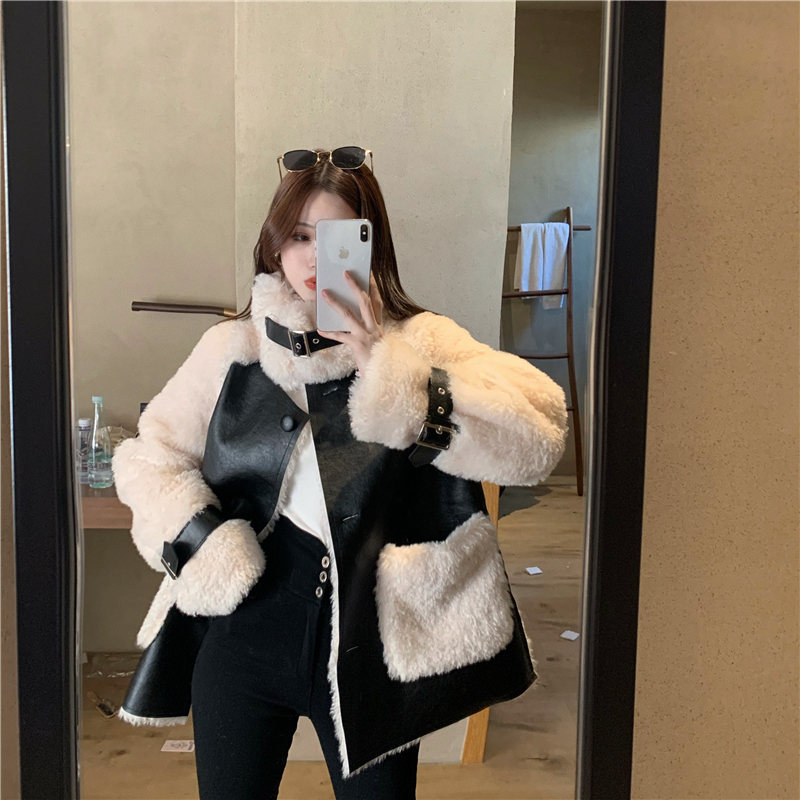 Hb77b6555d348479ea58fca434e2acbd7f Winter Women High Quality Fur Coat Loose Collar Design Integrated Long Splicing Single-breasted Cotton-padded Pocket Jackets