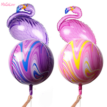 1Pc 22inch 4D Marble Balloon Agate Color Foil Helium Globals Adult Birthday Party Balloons Elegant Wedding Decoration Supplies 22inch 4d pvc christmas snowflake balloons helium balloon frozen snowflake transparent toy the snow birthday theme xmas new year