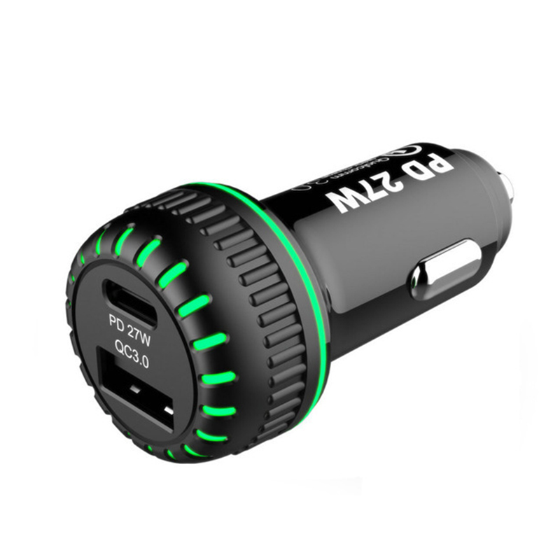 Mayitr Universal Car Charger PD/QC 3.0 Dual Fast Charging Port 12V-24V Car Charger with LED Lighting Mobile Phone Accessories