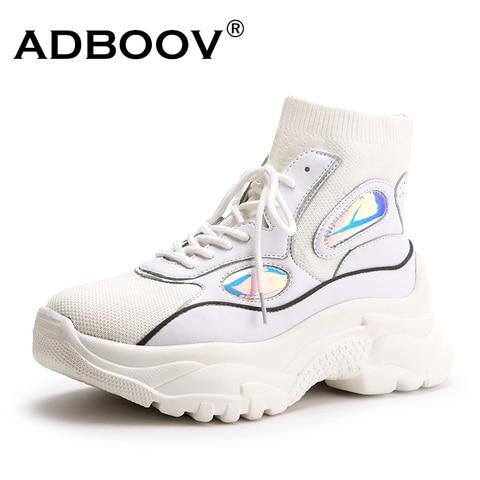 Homens para Mulheres Botas de Tornozelo Zapatos de Mujjer Adboov Alto Topo Plataforma Tênis Meias Sapatos Mulher Unissex Pai Chunky