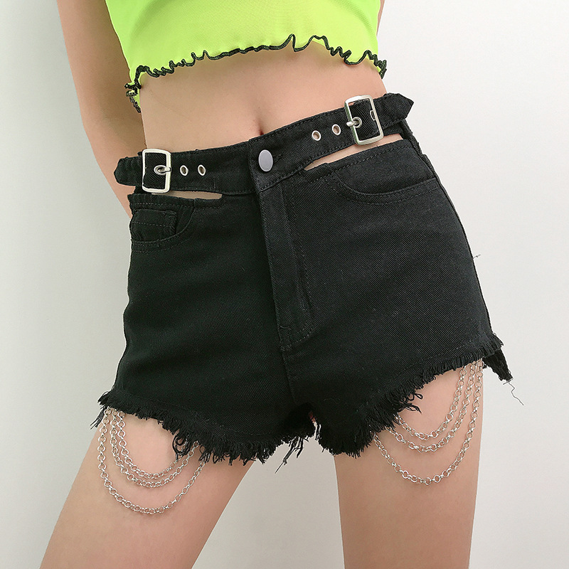 Vintage Gothic Hole Chain Shorts Women Aesthetic Spring Summer 2020 New Harajuku Female Sexy Shorts Grunge Punk Hip Hop Jeans