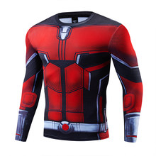 men Marvel Superhero Tights Long Sleeve Shirt Batman Superman Captain America The Flash 3D Fitness MMA UFC Rashguard T shirt(China)