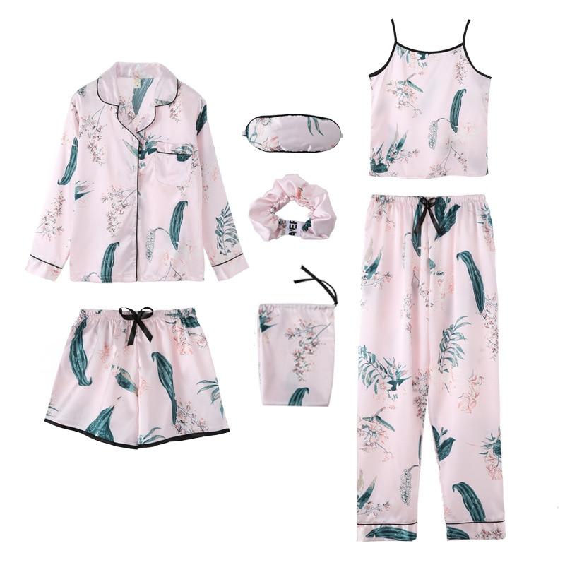 Women Pajamas Sets Spring Summer 7 Pcs Set Silk Print Shorts Long Sleeve Top Elastic Waist Pants Full Lounge Sleepwear Nightwear