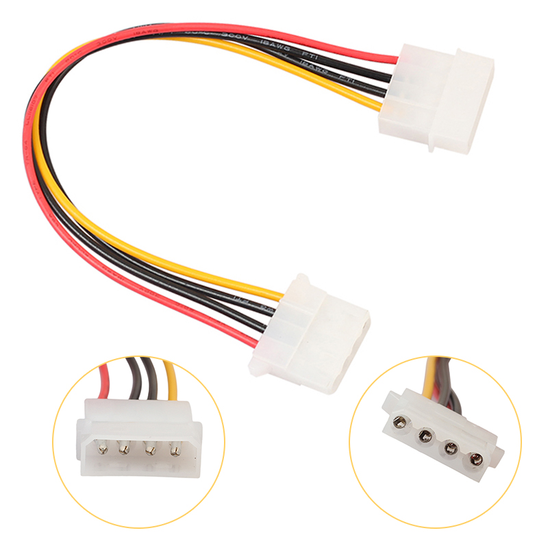 4Pin IDE Power Cable 20cm 4 Pin Molex Male To Molex IDE Female Power Supply Splitter Adapter Cable