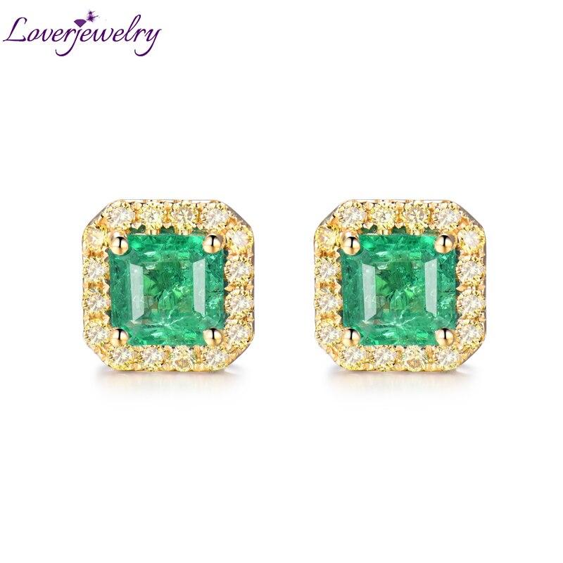 Lady boucles d'oreilles véritable 18Kt or jaune naturel 6mm émeraude pierre véritable jaune diamants boucles d'oreilles pour les femmes OL bijoux de fête