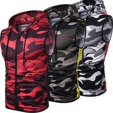 Fashion Men's Sleeveless Camouflage Zipper Hooded Vest