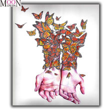 Набор для алмазной вышивки «бабочки и рука»