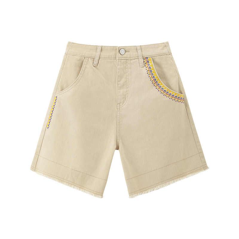 をインマン 2020 夏新到着綿ハイウエストコントラストカラー刺繍ファッションパンツ