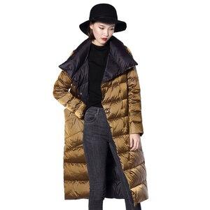 Image 5 - FTLZZ Ultra Light White Duck Down Jacket Women Winter Double Sided Slim long Coat Single Breasted Warm Parkas Snow Outwear