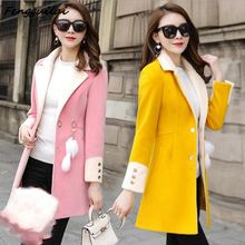 Winter Slim Large Size Yellow Women Woolen Jacket 2019 New Casual Medium Long Solid Color Sleeve S-3XL