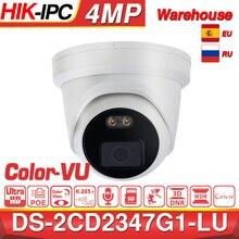 Hikvision EasyIP 4.0 ColorVu Original IP Camera DS 2CD2347G1 LU 4MP Network Bullet POE IP Camera H.265 CCTV Camera SD Card Slot