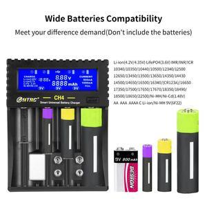 Image 2 - Htrc 4 slots carregador de bateria li ion li fe ni mh ni cd lcd carregador rápido inteligente para 26650 6f22 9v aa aaa 16340 14500 18650 bateria