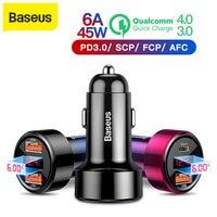 Baseus 45 w carregador de carro para iphone samsung huawei dupla usb tipo c carregador de telefone móvel de metal carregamento do carro qc3.0 4.0 carga rápida|Carregadores de celular| |  -