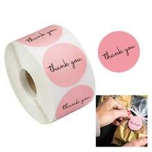 500 pces/rolo obrigado você rosa adesivos autoadesivo etiquetas feitas à mão decoração de festa de presente de casamento