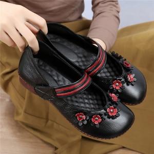 Image 5 - Texiwas Echt Leer Vrouwen Flats Schoenen 2020 Mary Janes Handgemaakte Bloem Schoenen Zachte Comfortabele Loafer Vrouwen Rijden Schoenen