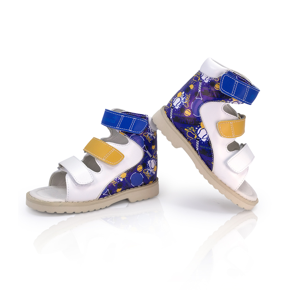 Baby Boys Leather Sandals For Kids Medical Orthopedic Shoes Girls Graffiti Hook And Loop Flatfoot Clubfoot Shoes For Toddler