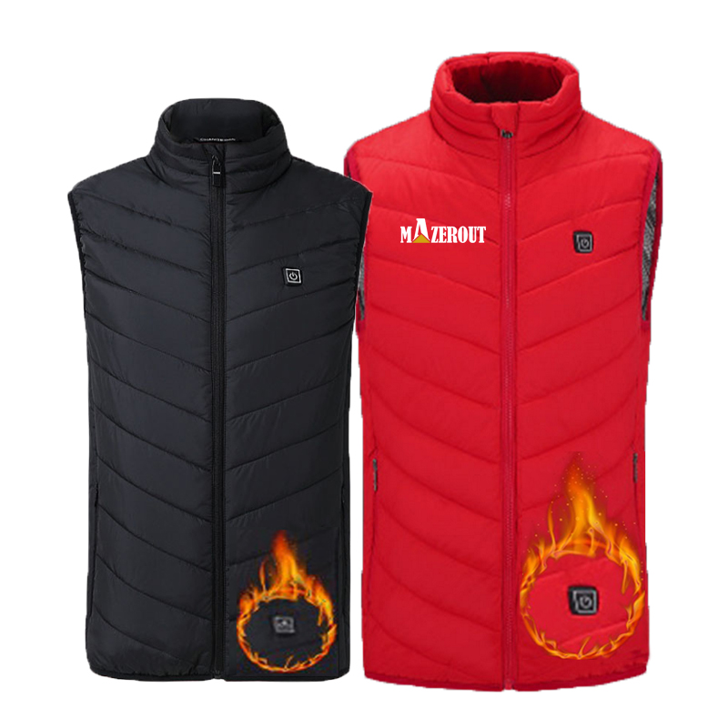 Men Women Winter Flexible Electric Thermal Cloth Waistcoat Fish Hiking Euro Size XS-4XLOutdoor USB Infrared Heating Vest Jacket