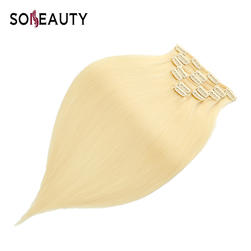 Sobeauty Clip In Human Hair Extensions Straight 7pc Set  Remy Clip Ins Hair Brazilian Hair Blonde 14 16  20 Clip Natural Hair