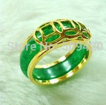 จัดส่งฟรี Unisex อัญมณีสีเขียวมรกตหยกแหวนขนาด: 7 #8 #