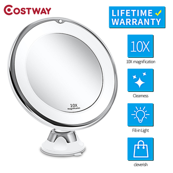 COSTWAY New Led Makeup Mirror Vanity Mirror Make up Grossissant 10X Magnifying Cosmetic Mirrors with Light Droppship & Sucker