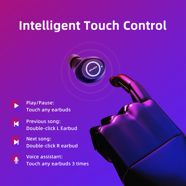 AWEI T19 TWS 5.0 2500mAh LED Display Super Bass Stereo Earbuds Noise Cancelling Waterproof IPX5 With Dual Mic For Gaming Sport 2