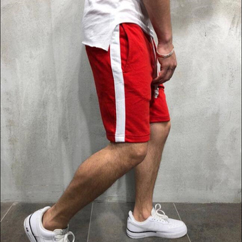 Summer Men's Side Striped Sport Shorts Male Adjusted Sashes Training Running Sport Workout Casual Jogging Short Pants Trousers