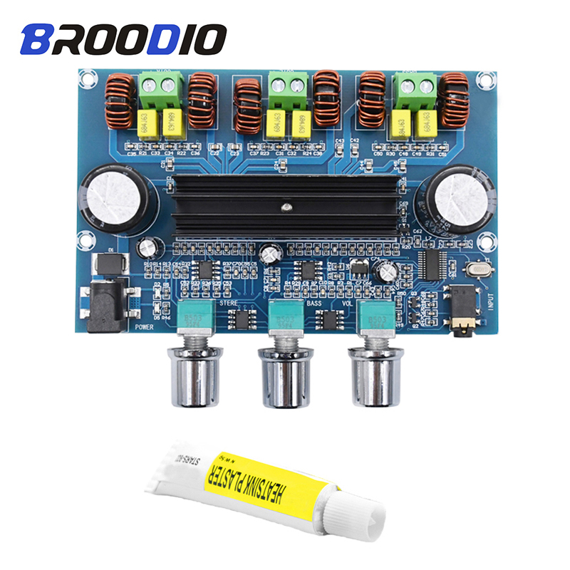 TPA3116D2 Bluetooth 5.0 Audio Amplifier Board TPA3116 Digital Power Amp 2.1 Channel Stereo Class D Amplifiers For AUX With Case