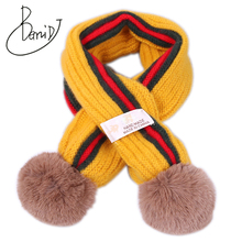 Children's knit winter cashmere warm comfortable solid color baby scarf boys gir