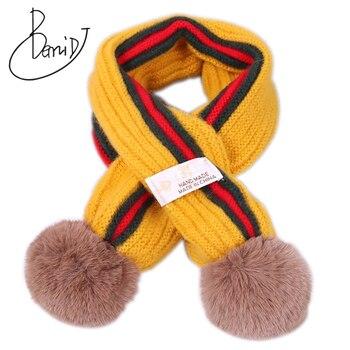 Children's knit winter cashmere warm comfortable solid color baby scarf boys girls universal stripe fur pom-pom kids Scarves girls pom pom detail polka dot sweater