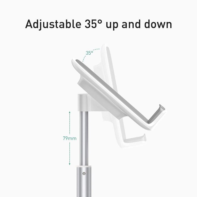 Baseus suporte de tablet para ipad, pro air mini suporte de mesa de alumínio ajustável para celular iphone samsung tablet 3