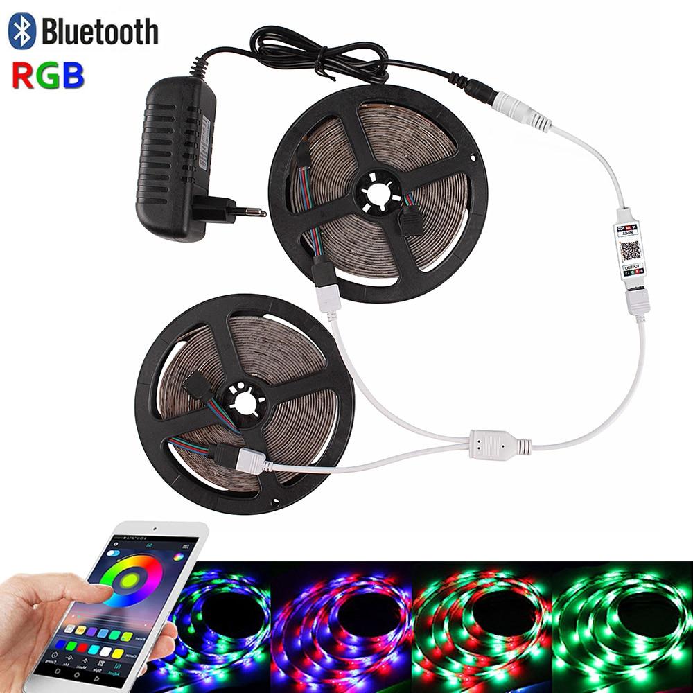 Bluetooth RGB Led Strip Lights 5M 10M 15M Diode Tape DC 12V Waterproof 2835 Neon Ribbon Tiras Fita Bande Led +Controller Adapter