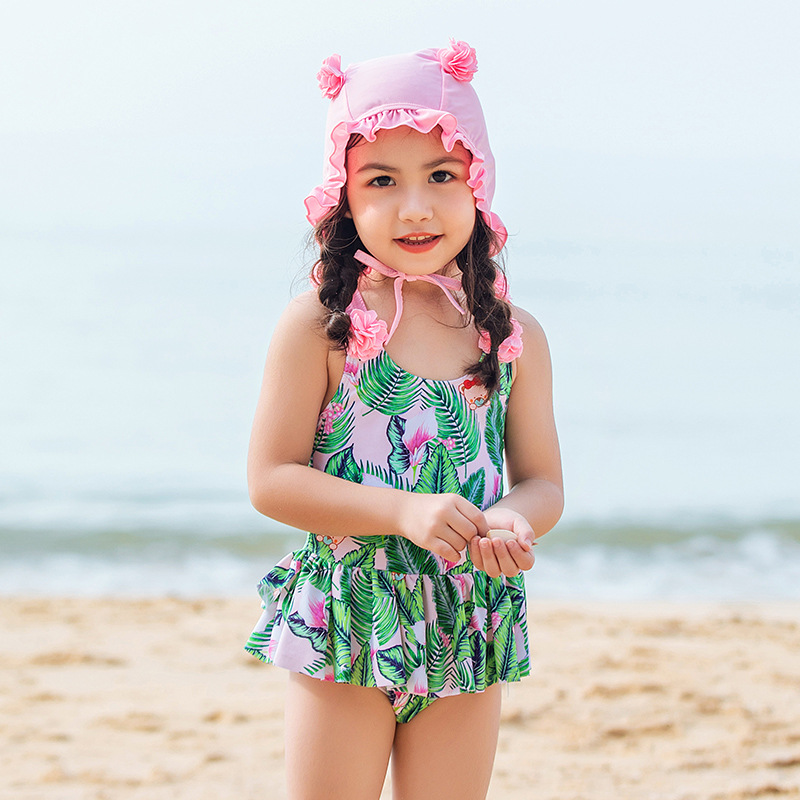 2019 New Style Children Dress-with Swim Cap Cartoon Bathing Suit Children Cute Green Printing Tour Bathing Suit