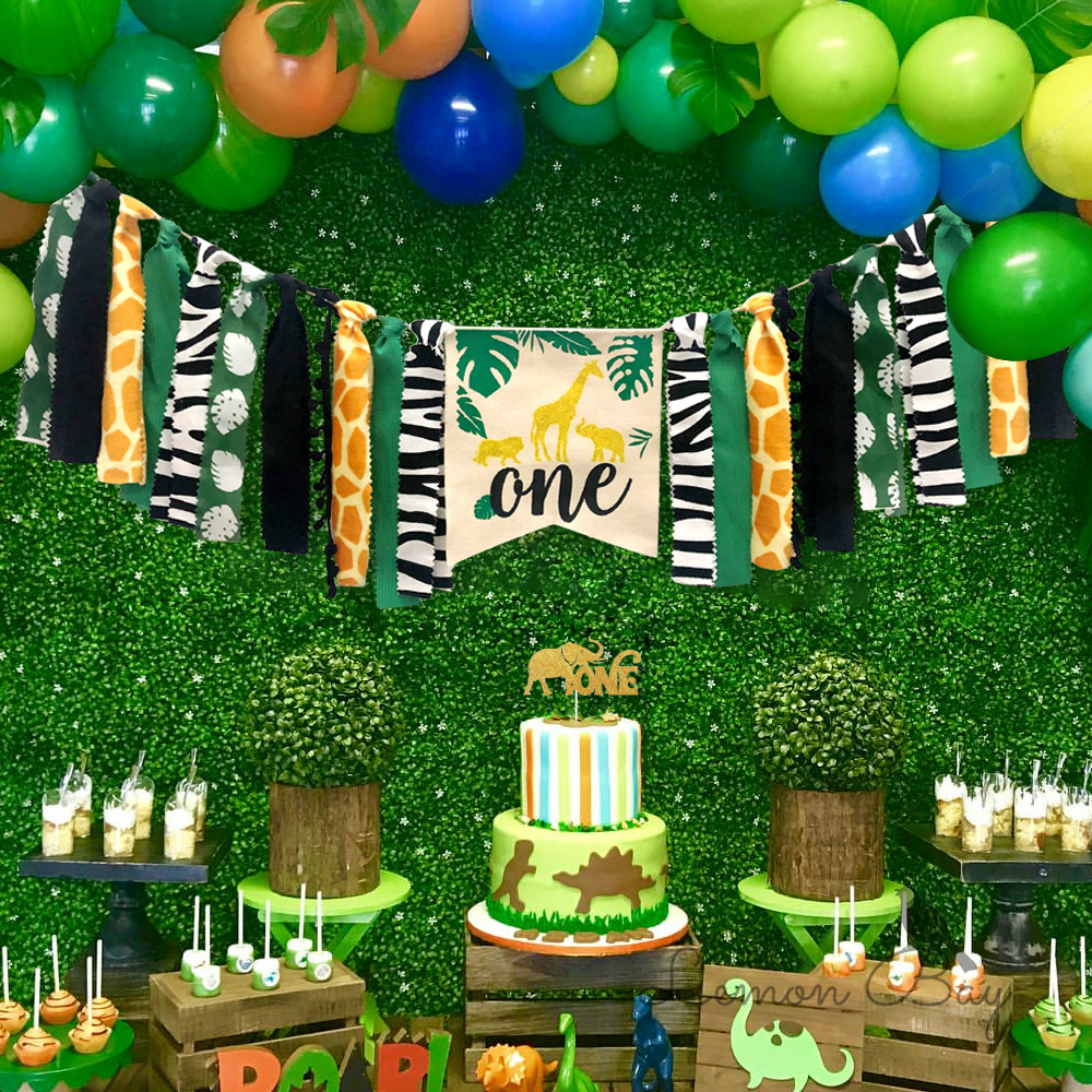 One Year Birthday Banner Boy Girl Dining Chair Pull Flag Jungle Animal Themed Garland Bunting Decoration Baby Birthday Banner