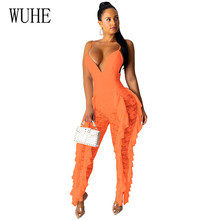 WUHE Rompers Women Sexy Deep V-neck Spaghetti Strap Lace Stitching Playsuits Elegant Ruffles Clothes Hollow Out Party Jumpsuits