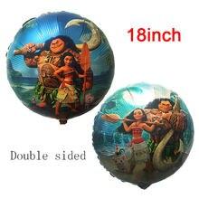 Polegada rodada Moana 18 Balões Princesa Bonito Da Folha de Alumínio Balões da Festa de Aniversário Decorações Do Partido Suprimentos Crianças brinquedos 1 pçs/lote