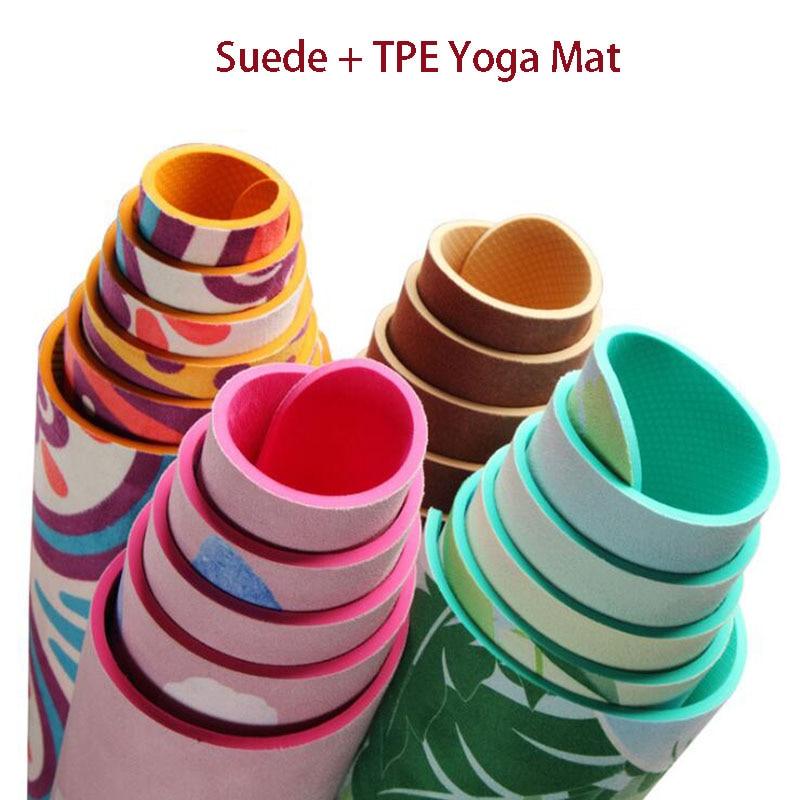 5 Mm Lotus Pattern Suede Tpe Yoga Mat Pad Non-Slip Slimming Exercise Fitnes Y2Q6