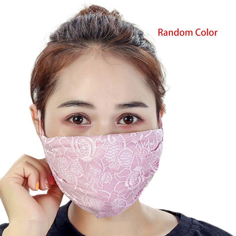 Women Crochet Floral Lace Winter Warm Mouth Mask Anti Dust Windproof Respirator Random Color