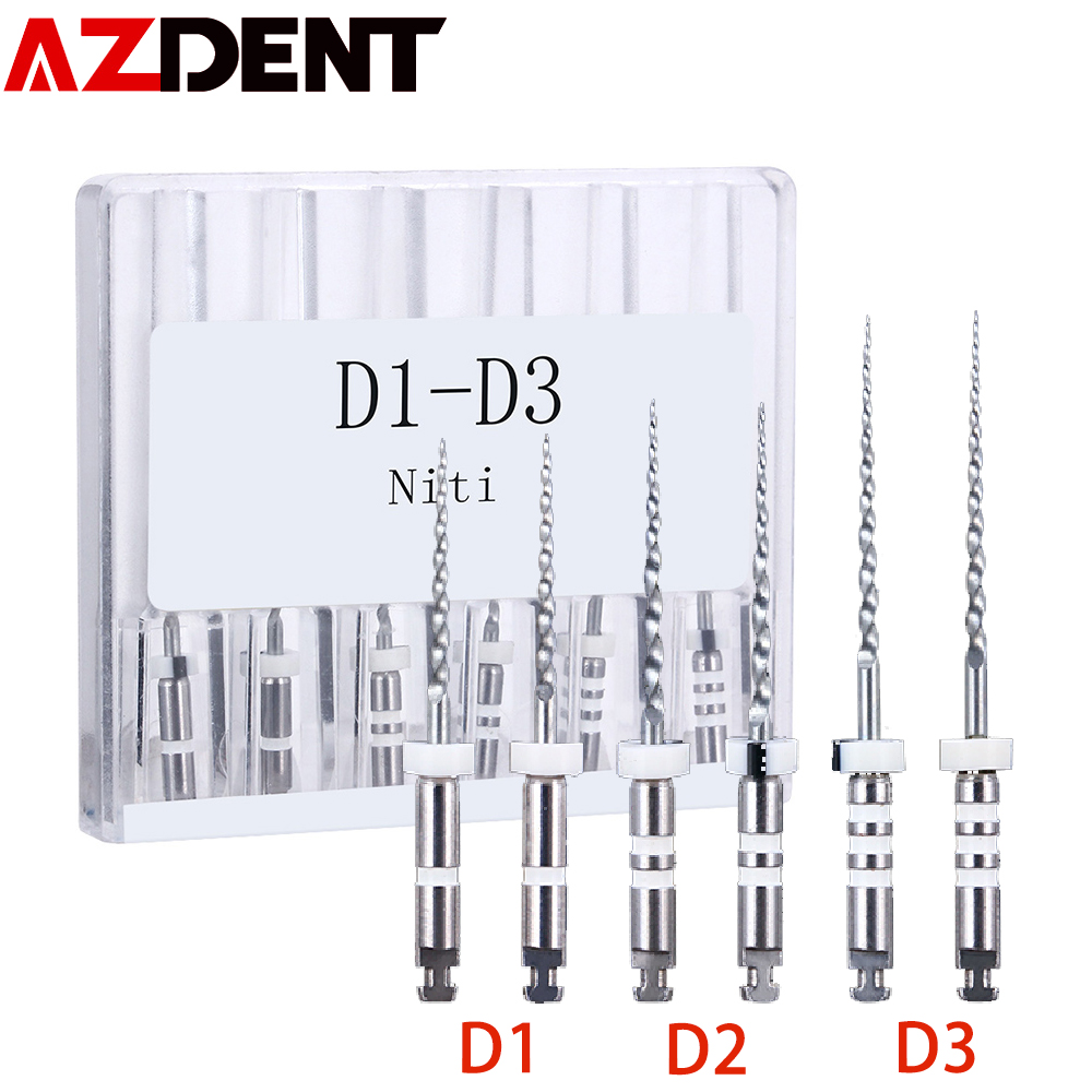 6pcs/pack AZDENT Dental Retreatment Engine Root Canal NiTi File D1-D3