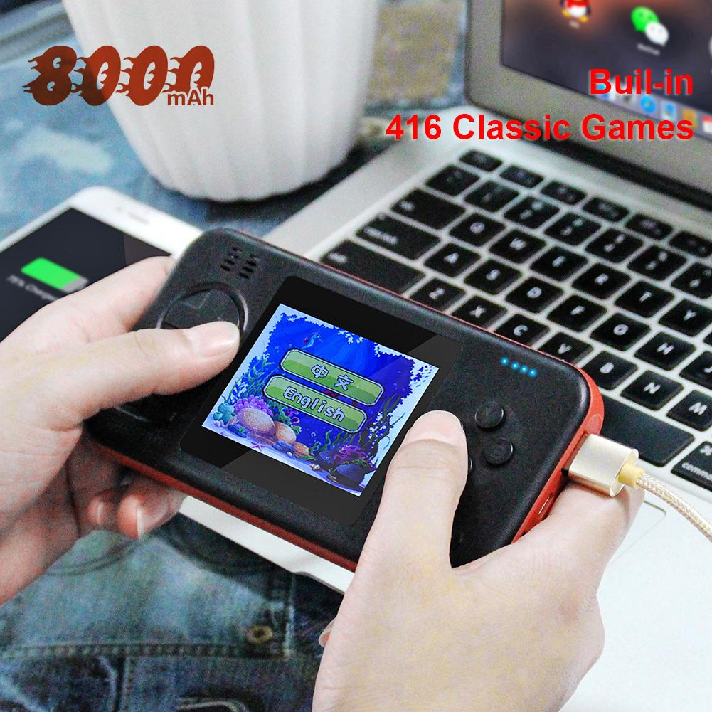 Multifunctional 2.8 inch Color Screen Handheld Portable Game Console Power Bank Built-in 416 Classic Games 146X77X18mm