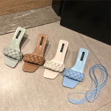 цена на Double Purpose Net Red Goddess 20 New Fashion Linen Flower Color Woven Open Toe Thin Heeled Sandals Slippers Fairy