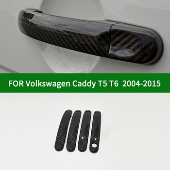 For 2003-2015 Volkswagen VW Caddy T5 T6 Third generation Caravelle car 2/4 door handle cover,carbon fiber pattern cover trim фото