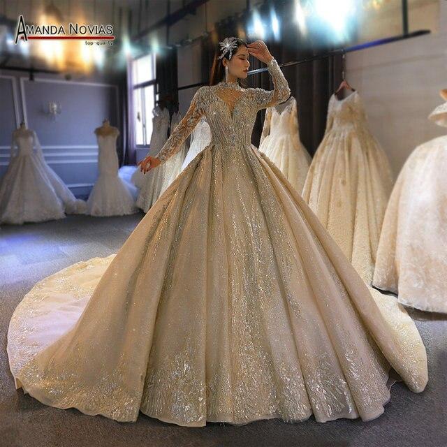 Amanda Novias 2020 brand gold wedding dress real work high quality dubai wedding dresses not with veil