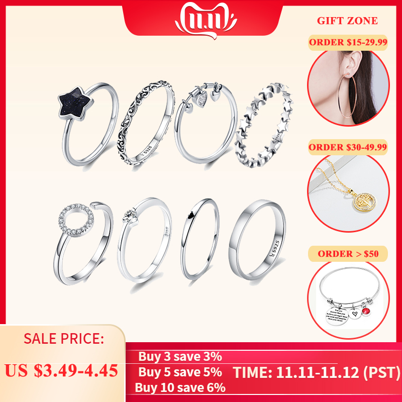 VOROCO Real 100% 925 Sterling Silver Wedding Rings For Women Original Design Jewelry Female Fashion  Gifts